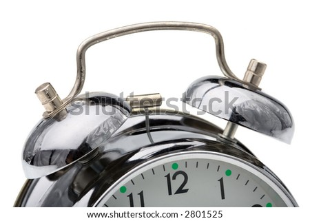 close up of the oldfashioned alarm clock - stock photo