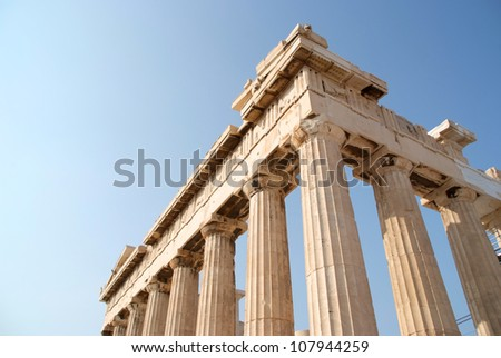Close up of the Parthenon in Athene - stock photo