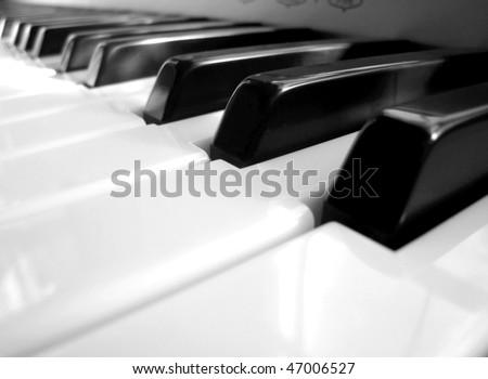 close-up of the piano keys - stock photo