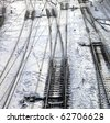 Close up of the railroad tracks. Winter. - stock photo
