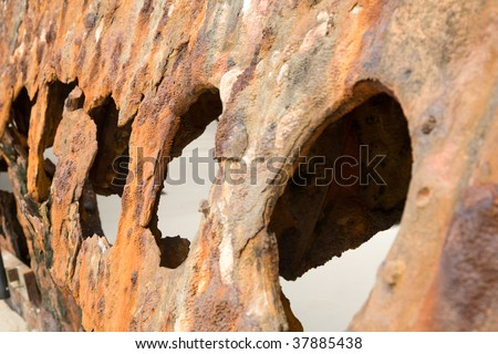 Close up of the S.S. Maheno shipwreck on Fraser Island - stock photo