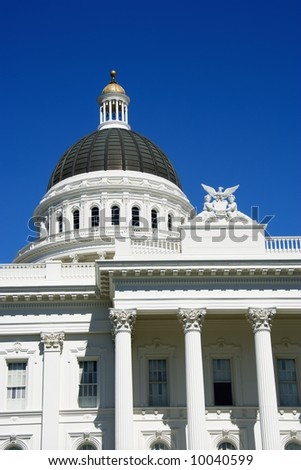 Close-up of the Sacramento Capitol building, California, USA.
