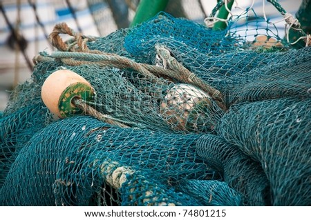 Close Up of the Shrimping Nets Used by Fishermen - stock photo