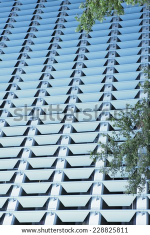 Close up of the side of a high-rise building - stock photo