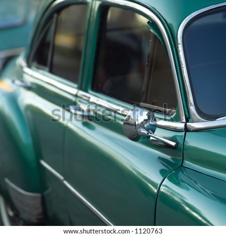 Close-up of the side of an antique car, Havana, Cuba - stock photo