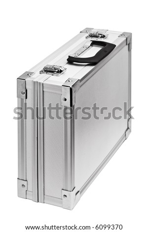 close up of the silver briefcase on the white - stock photo