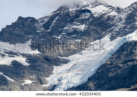 Close-up of the snow on the Mount Cook in New Zealand - stock photo
