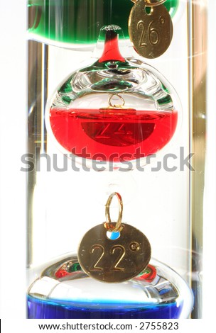 Close-up of the spheres in a Galileo thermometer - stock photo