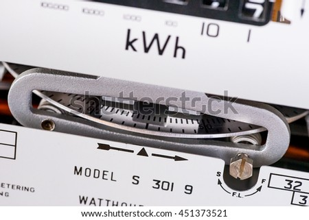 Close-up of the spinning measuring dial on a kilowatt electricity meter.