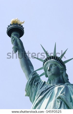 Close up of the Statue of Liberty on Liberty Island in New York City. - stock photo