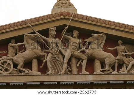 Close up of the statues at the top of the Parthenon in Nashville - stock photo