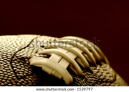 Close-up of the stitches on a Football/ soft focus - stock photo
