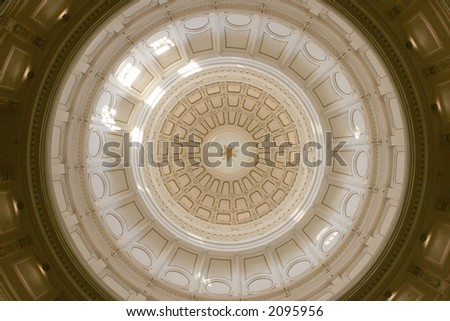 Close-up of the Texas State Capitol dome interior in Austin - stock photo