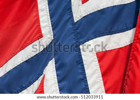 Close up of the textile Norwegian flag