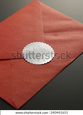 close up of the thank you sticker on envelope - stock photo