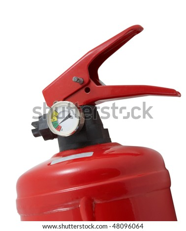 Close-up of the top of fire extinguisher isolated on a white background - stock photo
