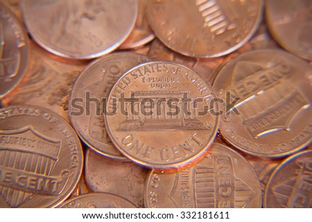 Close up of the US cent - stock photo