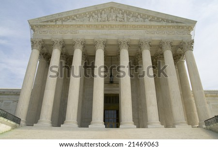 Close up of the US Supreme Court in Washington DC, USA.