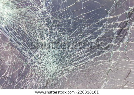 Close up of the windshield to crack due to an accident collided. - stock photo