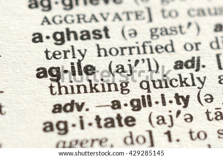Close-up of The Word Agile in a Dictionary - stock photo