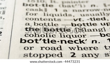 Close-up of the word bottleneck in a dictionary - stock photo