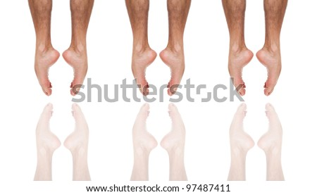 Close up of three ballet dancer's feet jumping