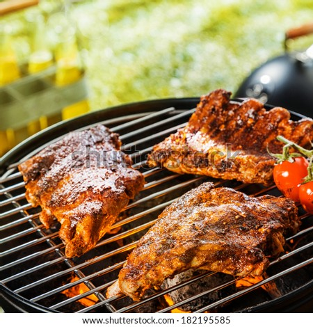 Close up of three portions of marinated seasoned rib grilling on a portable BBQ during a summer picnic or camping trip