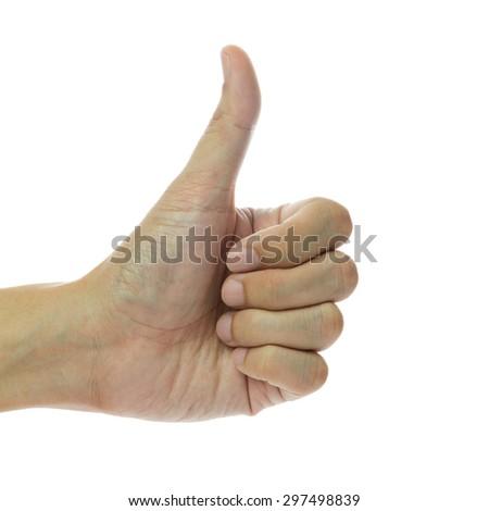 Close up of thumb up on white background - stock photo