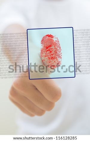 Close-up of thumb with a red fingerprint, security concept - stock photo