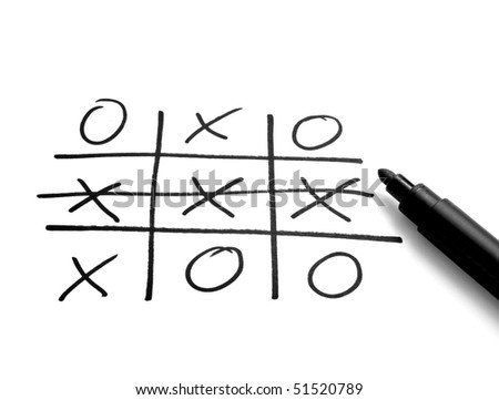 close up of tic tac toe leisure game - stock photo