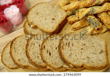 Close-up of toast bread - stock photo