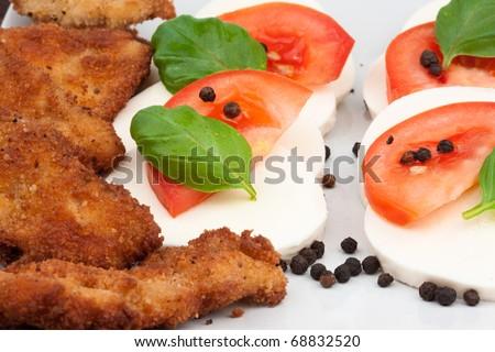 Close up of tomato mozzarella salad with chicken - stock photo