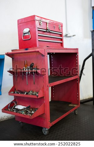 Close up of tool in red drawers at the repair garage