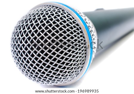 Close up of  top microphone on a white background .  - stock photo