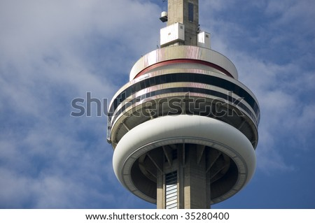 Close up of top of Toronto CN Tower / rchitectural detial - stock photo