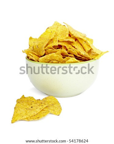 close up of tortilla chips on white background with clipping path - stock photo
