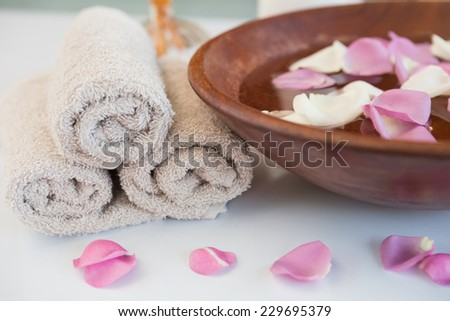 Close-up of towels and other spa objects - stock photo