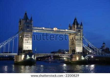 Close up of Tower Bridge- twilight scenic - stock photo