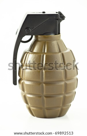 Close-up of toy grenade on white background