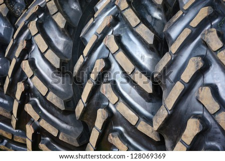 Close up of  tractor tires tread - stock photo