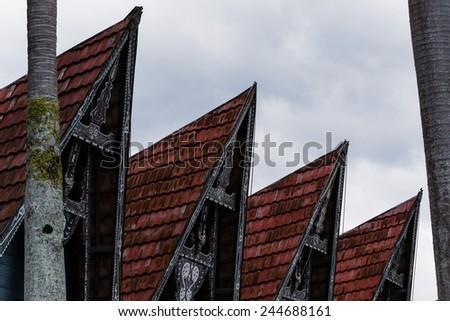 close-up of traditional batak houses at lake toba, sumatra indonesia - stock photo