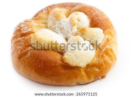 close up of traditional Czech nutty pie on white background - stock photo