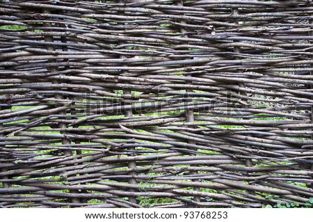 Close up of traditional russian wattled fence - stock photo