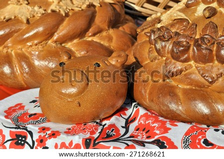 close-up of traditional ukrainian festive bread - stock photo