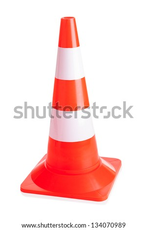 Close-up Of Traffic Cone Isolated Over White Background