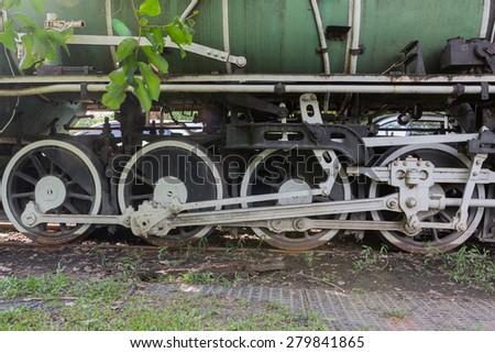 Close up of train wheels - stock photo
