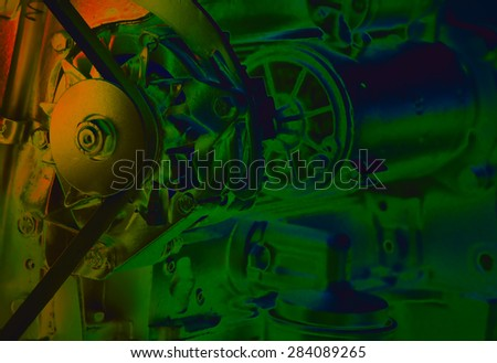 Close up of transmission belt on car engine, artistic image technique