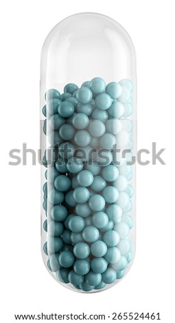 Close up of transparent pill capsule with blue granules isolated on white, 3d illustration - stock photo