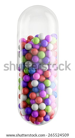 Close up of transparent pill capsule with colorfull granules isolated on white, 3d illustration - stock photo