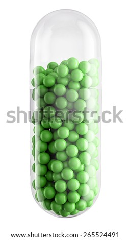 Close up of transparent pill capsule with green granules isolated on white, 3d illustration - stock photo